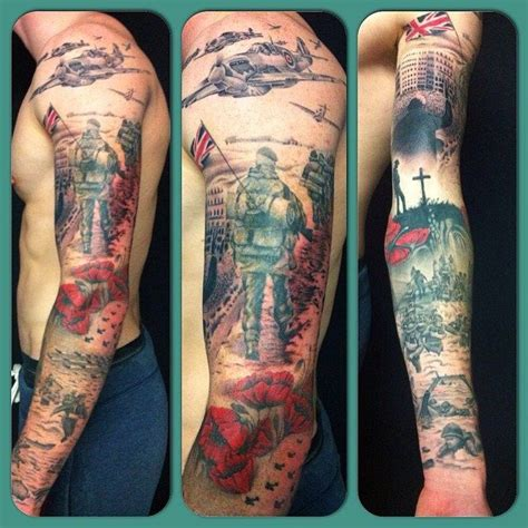 british tattoos designs army inspired sleeve by richard dean