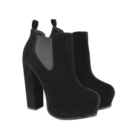 black faux leather high heel boots imogen