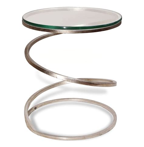 Silver End Table by Fehn Modern Antique Silver Glass Spiral End Table Silver