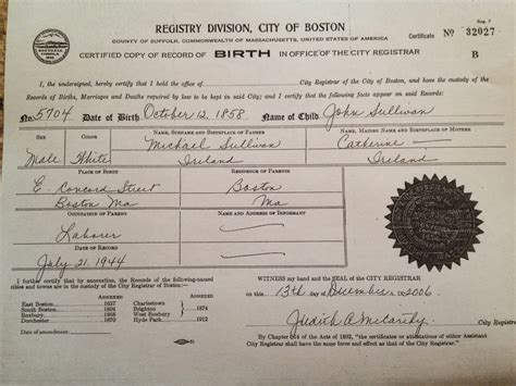 Birth Records Boston Ma The Strong Boy Happy Birthday L Sullivan