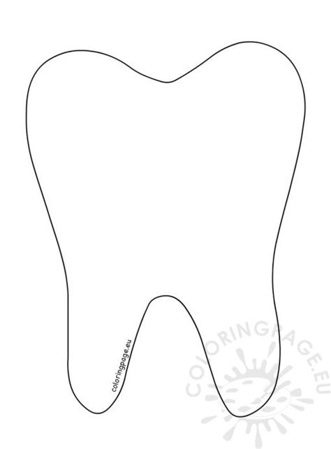 tooth template school coloring page
