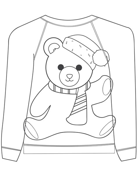 16 Ugly Christmas Sweater Colouring Pages Mum In The Sweater Coloring Page