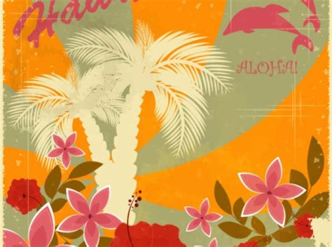hawaiian powerpoint template hawaii hawaiian retro background set about flowers
