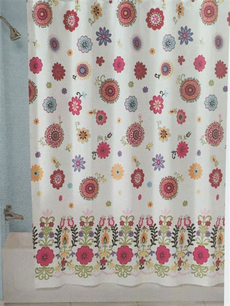 pink fabric shower curtain peri sasha white aqua orange pink floral fabric shower