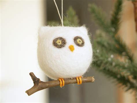 owl ornament needle felted wool woodland barn owl