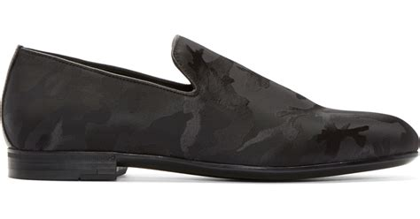 jimmy choo camo loafer jimmy choo black camouflage sloane loafers in black for