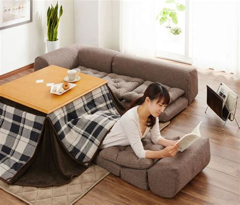 japanese heated table kotatsu a traditional japanese floor sofa made modern
