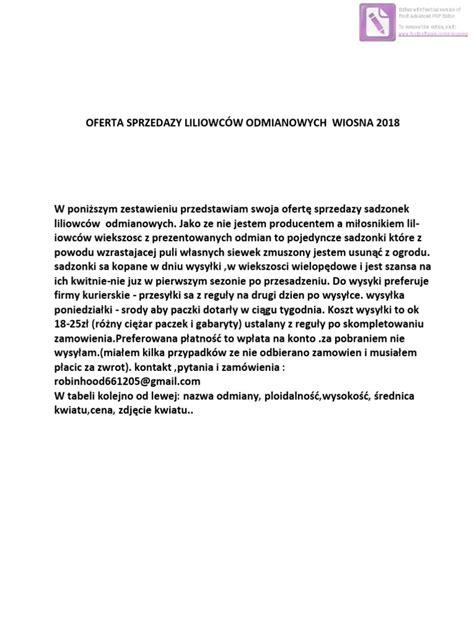 Oferta-liliowce Ze Zdjeciami-wiosna 2018