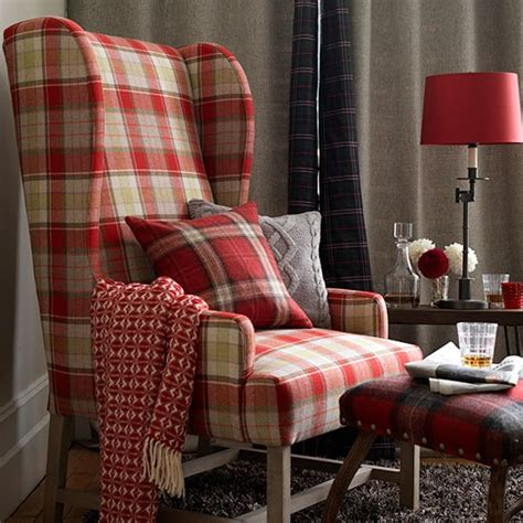 plaid living room furniture country living room with tartan armchair decorating