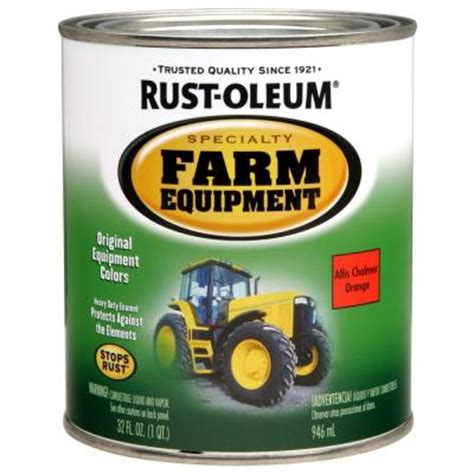 rust oleum specialty 1 qt allis chalmers orange gloss farm equipment paint of 2 7458502