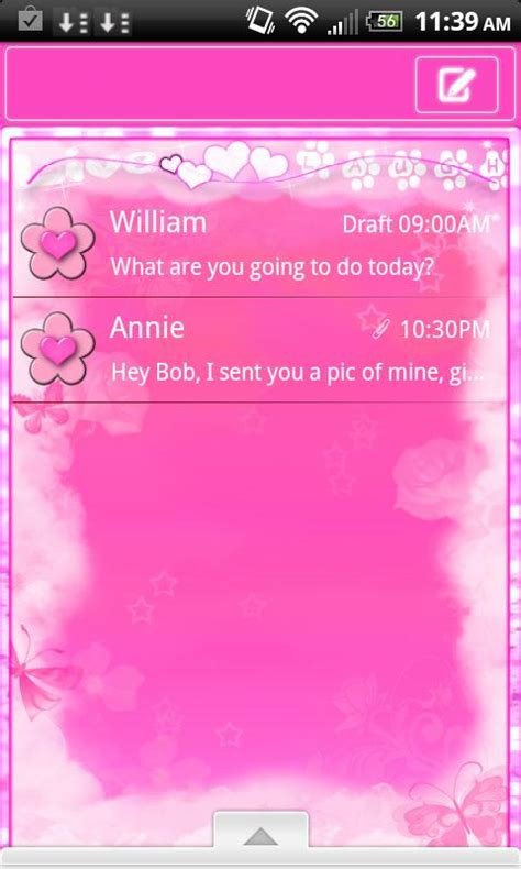 cute themes go sms cute pink theme for go sms pro android apps on google play