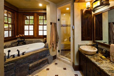 Log Cabin Bathroom by Absolutely Stunning Log Home Grid World