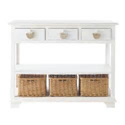 table console en bois blanche l 108 cm basse cour