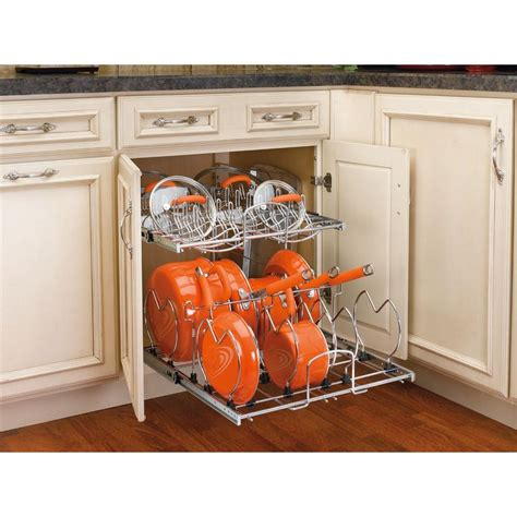pull out cabinet organizer for pots and pans rev a shelf 18 13 in h x 20 75 in w x 22 in d pull out