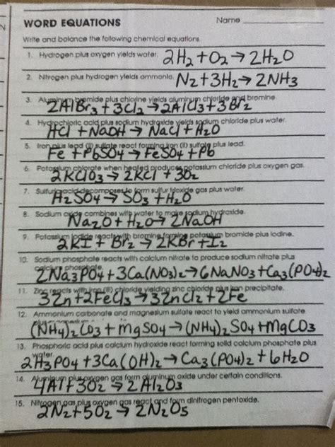 Classifying Reactions Worksheet Answer Key