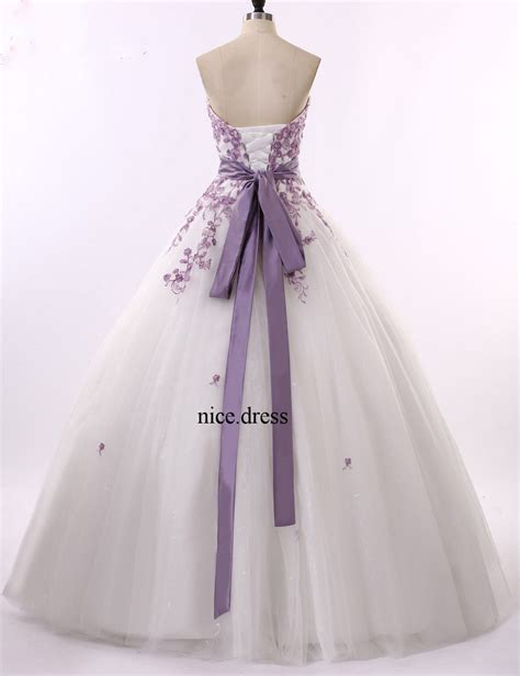 Custom Wedding Dresses Purple And White by New White And Purple Wedding Dresses Organza Gowns
