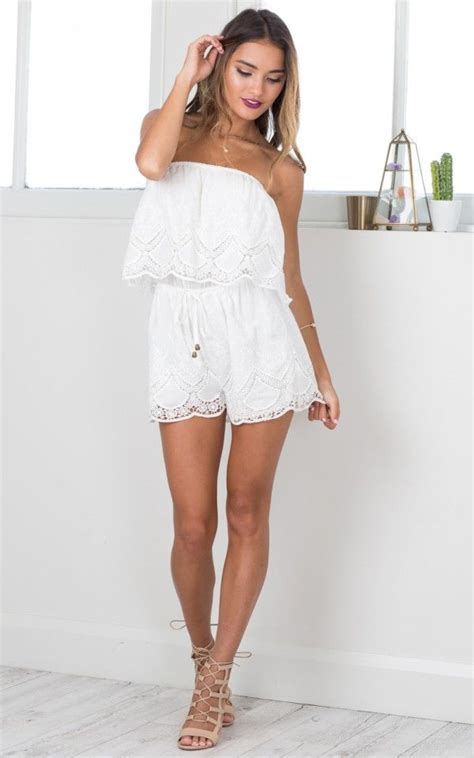 Strapless Lace Playsuit white lace ruched strapless playsuit by showpo ustrendy
