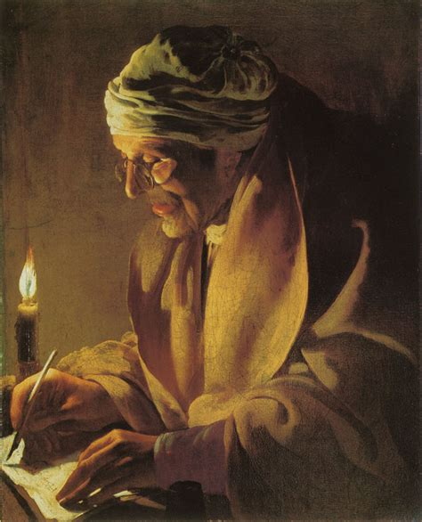 Large Paintings hendrick ter brugghen old man writing by candlelight