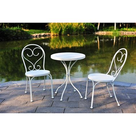 Small Outdoor Bistro Table Small Space Scroll 3 Chairs Table Outdoor Furniture Bistro Set White Seats 2 Rocking