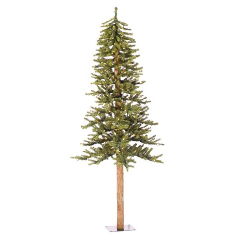6 ft natural alpine christmas tree wood trunk clear lit ebay