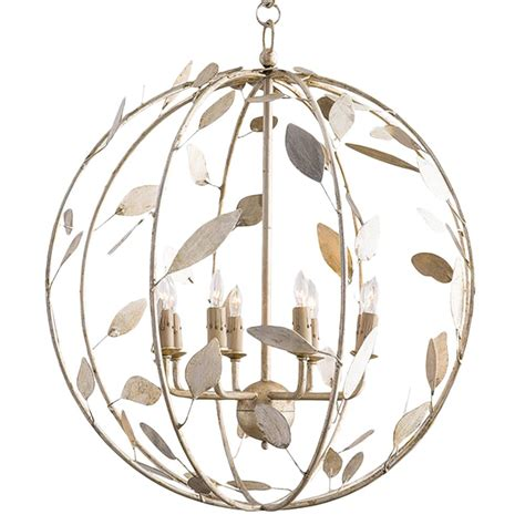 Poussin French Country Chagne Leaf Garden Globe Chandelier Garden Chandeliers