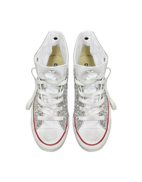converse glitter sneakers converse all hi white canvas w silver glitter ltd