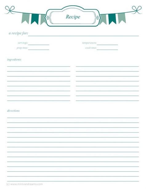 meal card template meal planning binder recipe pages recipe binders