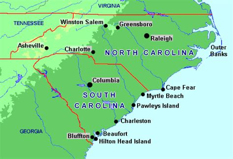 where is carolina on the us map charleston sc