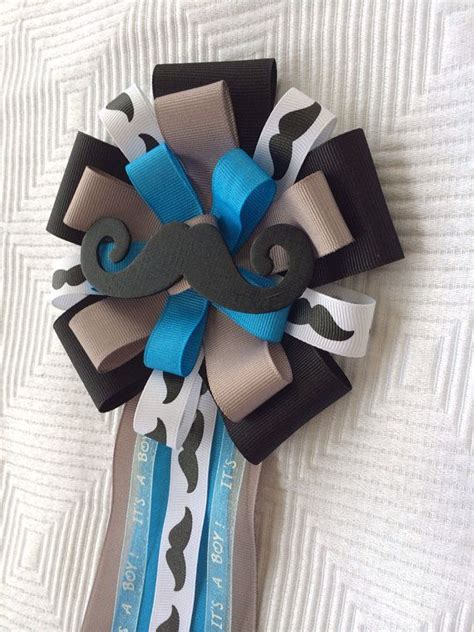 Mustache Baby Shower Corsage by Mustache Baby Shower Corsage Pin Black Grey