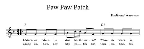 paw paw patch lyrics chords and lead sheet