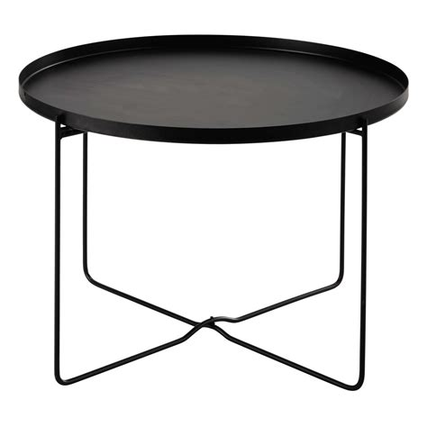 black metal side table cameron metal side table in black d 71cm maisons du monde