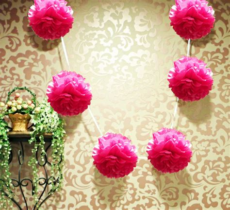 How To Make Paper Pom Pom Garland - 6 quot tissue pom pom garland fuchsia