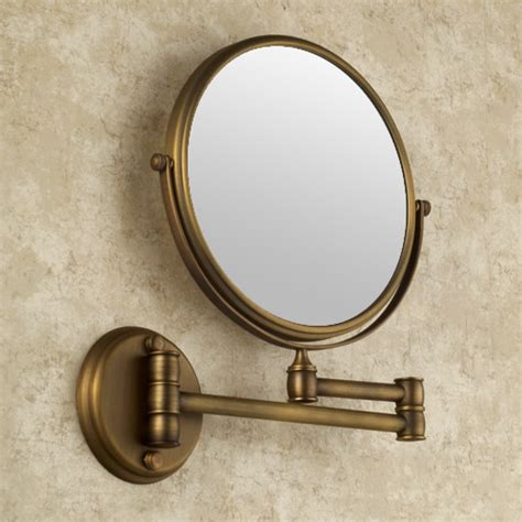 Brass Bathroom Mirrors Antique Brass Finish Wall Mounted Bathroom Magnifying
