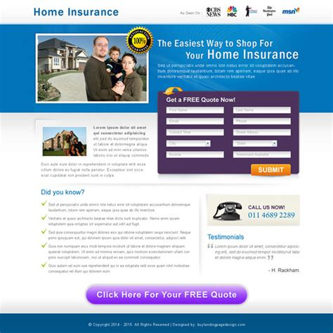 home page design sles home insurance landing page design templates to capture