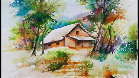 watercolor house tutorial village house painting www imgkid com the image kid