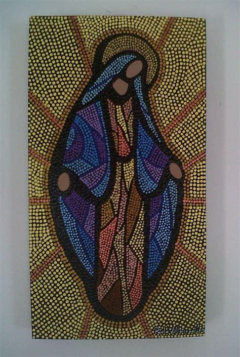 cuadros de virgenes hermoso cuadro de virgen pintada en puntillismo