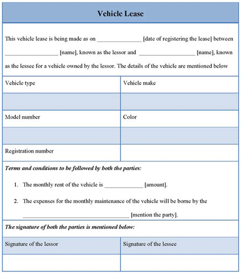 vehicle rental agreement template lease template for vehicle format of vehicle lease