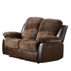 Microfiber Reclining Loveseat by Homelegance Cranley Reclining Loveseat In Brown