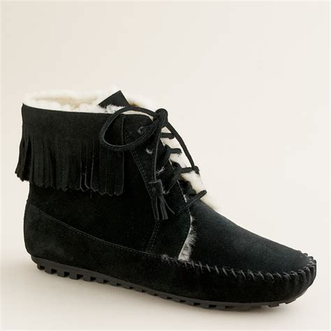 minnetonka shoes j crew minnetonka 174 shearling lined lace up boots in black