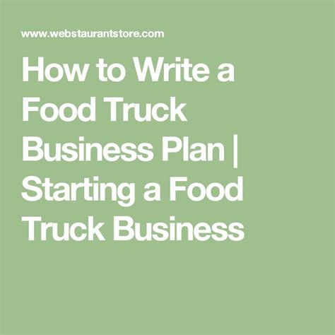 food inspiration how to write a food truck business plan