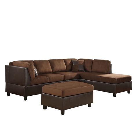 chocolate microfiber ottoman homesullivan chocolate microfiber sectional sofa 409909ch