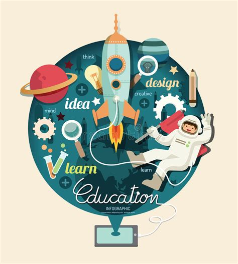 design graphics com boy on space with rocket education design infographic