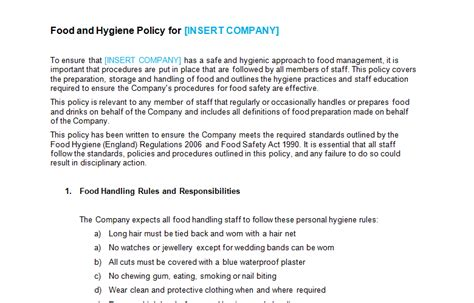 food safety policy template food and hygiene policy template bizorb