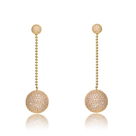 Gold Dangle With Silver And Cubic Zirconia P 296 flawless cubic gold silver clear cubic zirconia disco dangle earrings rozzato jewelry