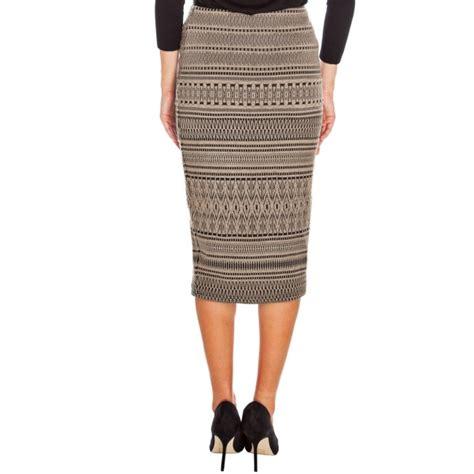 mocha tribal print pencil skirt evening wear