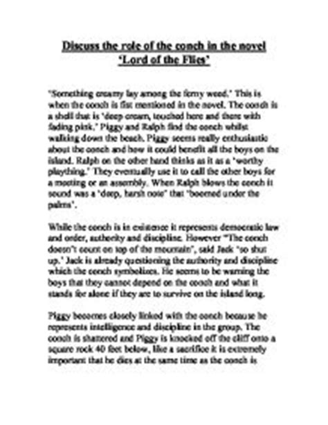 Lord Of The Flies Conch Essay by Discuss The Of The Conch In The Novel Lord Of The Flies Gcse Marked By