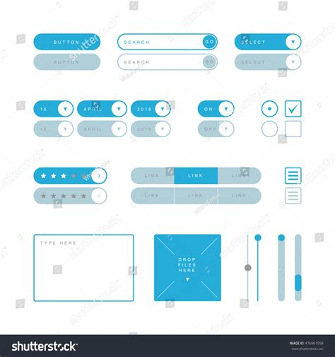 ui pattern buttons ui design elements vector button search 스톡 벡터 476961958