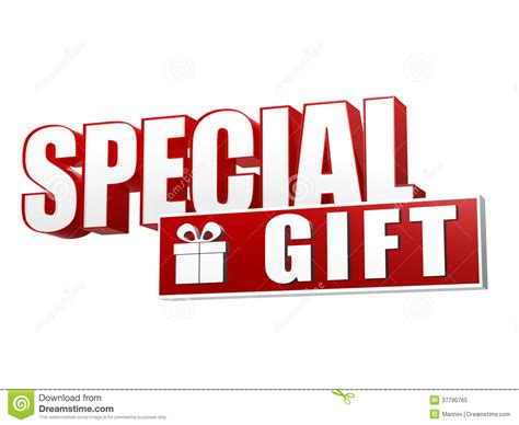 special gifts special gift with present box sign in 3d letters and block