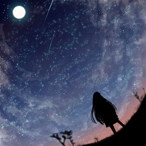 starry night sky girl anime starry sky by kanoir on deviantart