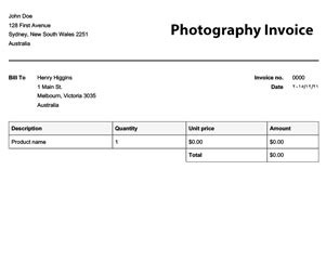 invoice template for photographers free invoice templates invoices